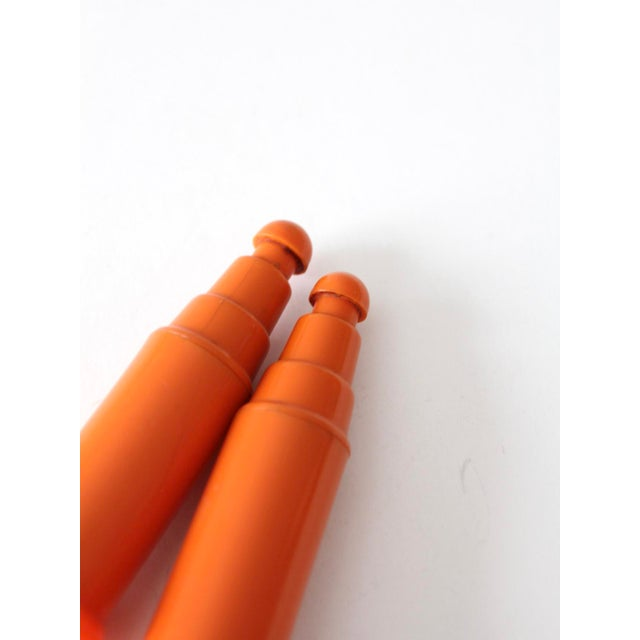 Plastic Vintage Push Top Orange Plastic Salt and Pepper Shakers For Sale - Image 7 of 8