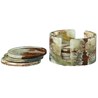 Green Marble Coaster Set - Set of 6 For Sale