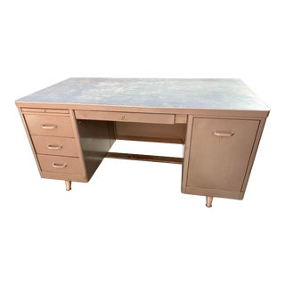 Vintage Mid Century Metal Tanker Desk For Sale