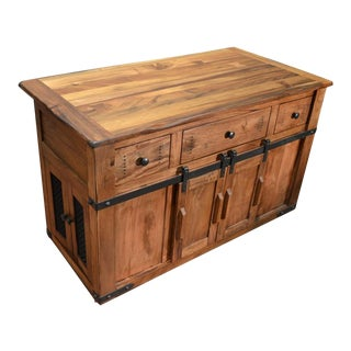 Crafters and Weavers Granville Parota Kitchen Island For Sale