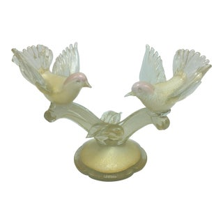 Vintage Murano Love Birds on Branch For Sale
