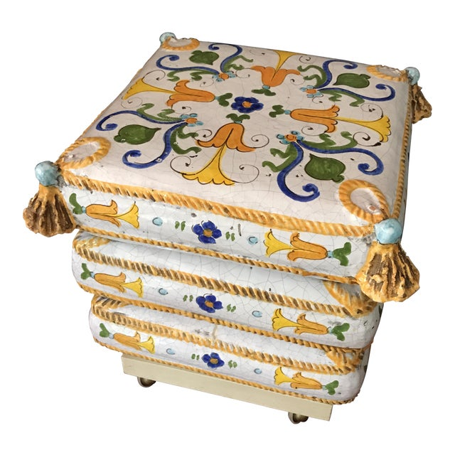Ceramic Stacked Pillow Ottoman - Image 1 of 6