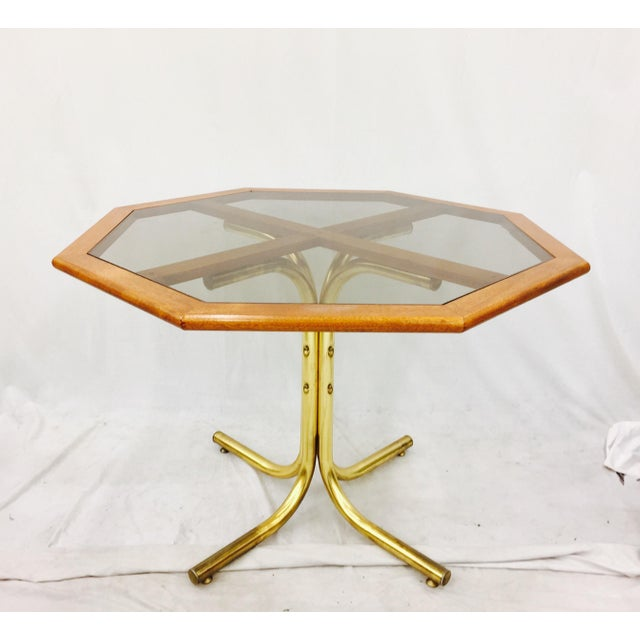 Vintage Mid Century Modern Eames Era Wood & Glass Top Bistro / Dinette Table with Tubular Lacquered Brass Legs / Pedestal....