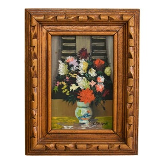 1960s Vintage J. Brioni Still Life Floral Oil Painting For Sale