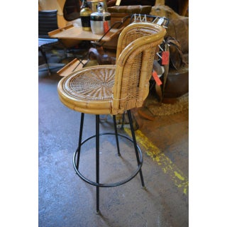 Vintage Mid Century Danny Ho Fong Iron and Rattan Bar Stool Preview