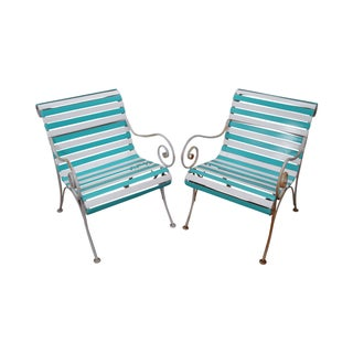 Woodard Vintage Patio Lounge Chairs - A Pair For Sale