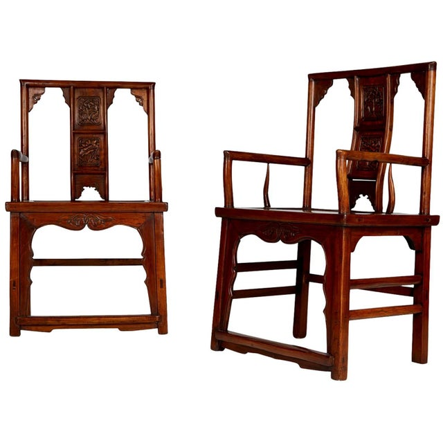 Pair of Chinese Carved Throne Armchairs For Sale - Image 11 of 11