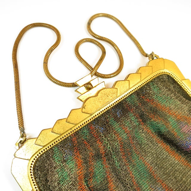 Whiting & Davis Whiting & Davis Deco Hand-Tinted Dresden Mesh Evening Purse 1920s For Sale - Image 4 of 13