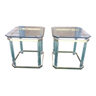 Vintage Mid-Century Modern Brass and Lucite End Tables - a Pair For Sale