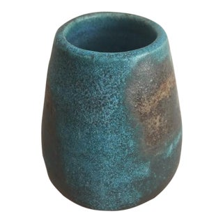 Boho Chic MANA Ceramics Teal and Coffee Pottery Bud-Vase For Sale