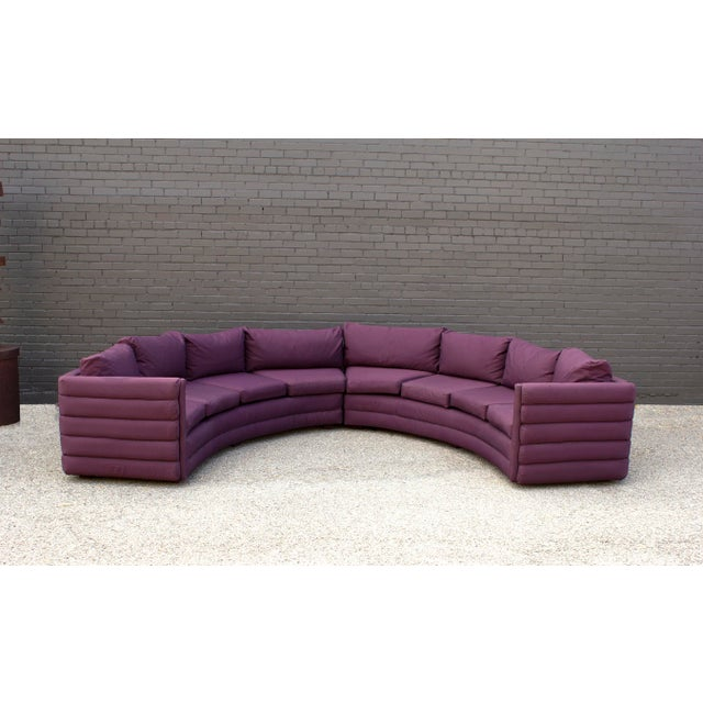 Wood Milo Baughman for Thayer Coggin 1970s Channel Back Semi-Circular Sectional Sofa For Sale - Image 7 of 12