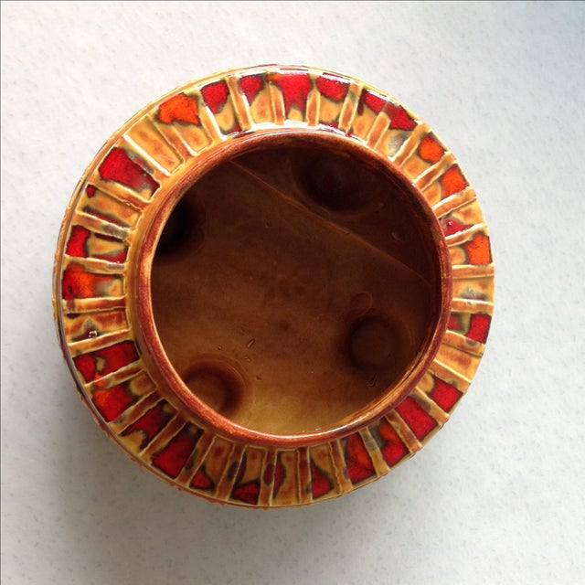 "1970s Brown and Red ""UFO"" Ceramic Planter - Image 10 of 11"