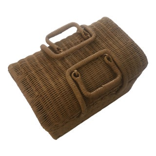 Vintage Natural Wicker and Rattan Picnic Basket For Sale