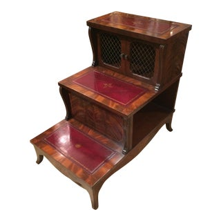 Mahogany and Tooled Leather Library Steps End Table