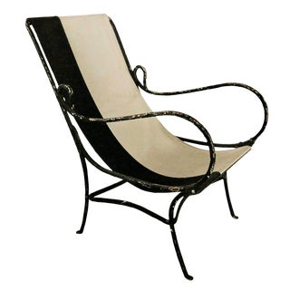 Wrought Iron Slingback Chair With Canvas For Sale