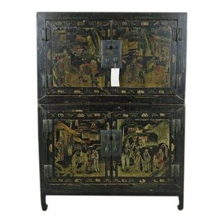 Black Lacquer & Gilt Paint Cabinet For Sale