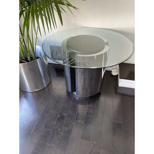 Leon Rosen 1980s Pace Collection Chrome and Granite Dining Table With Glass Top For Sale - Image 4 of 8