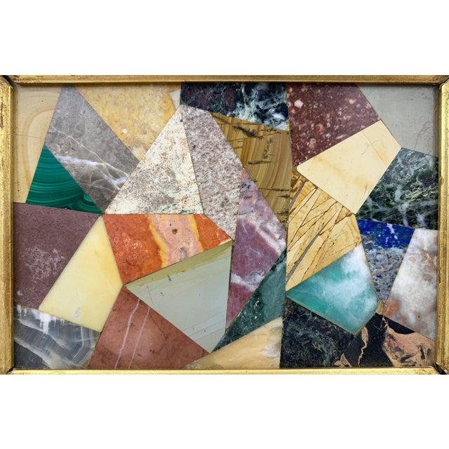 Mid-Century Modern G. Ugolini Italian Pietra Dura Stone Framed Abstract Mosaic Artwork For Sale - Image 3 of 9