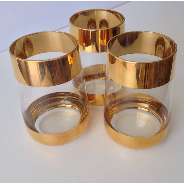 Italian 24k Gold Banded Glasses - Set of 3 - Image 7 of 8