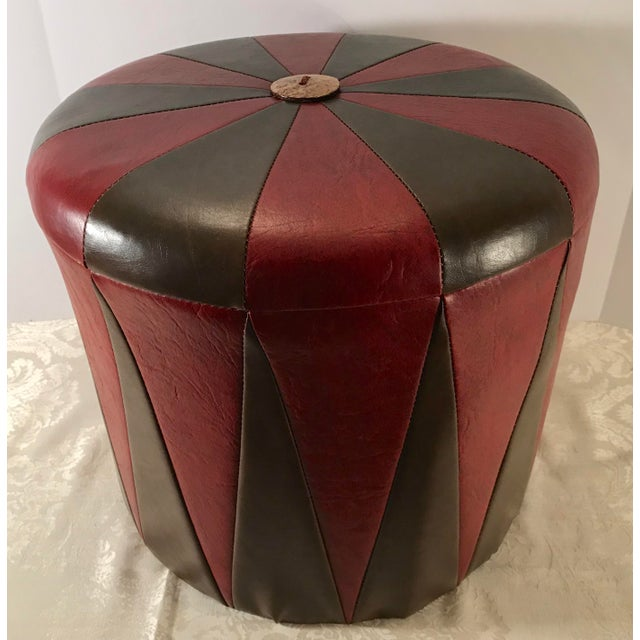 20th Century Boho Chic Brown Leatherette Pouf Footstool For Sale In Dallas - Image 6 of 8