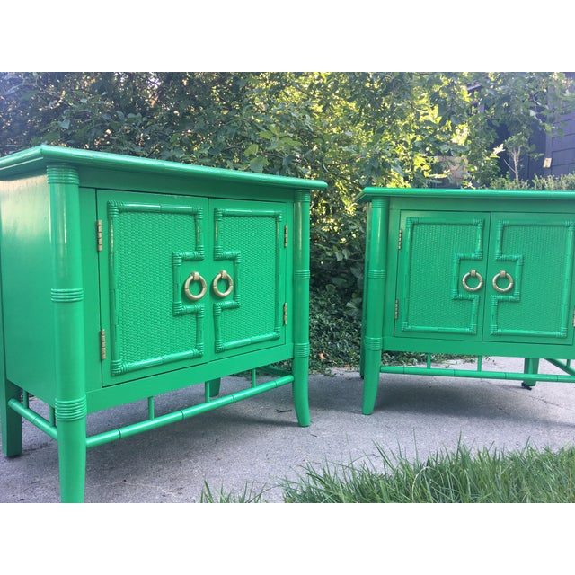 Vintage Thomasville Faux Bamboo Green Nightstands - A Pair - Image 4 of 10