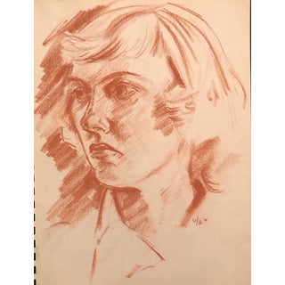 Sanguine Portrait of a Lady Drawing 1950s For Sale