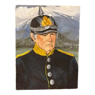 Late 20th Century Portrait Painting of a Soldier in a Helmet For Sale