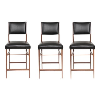 Maze Walnut Stools - Set of 3 For Sale