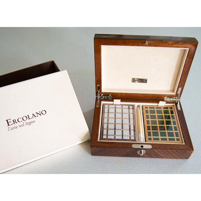 Ercolano Handmade Brown Wood Inlays Card Box - Image 4 of 4