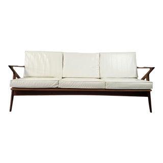 Danish Mid-Century Modern Poul Jensen for Selig Teak Three Cushion Z Sofa For Sale