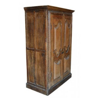 Antique Indian Tall Rustic Cabinet With Carved Doors From the 19th Century Preview
