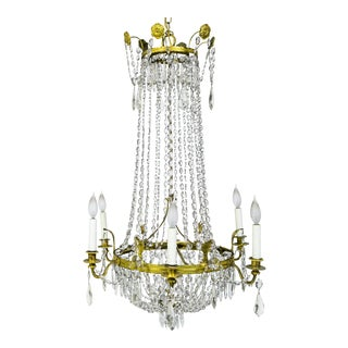 1920s Regency Tent and Bag Crystal Brass Chandelier For Sale