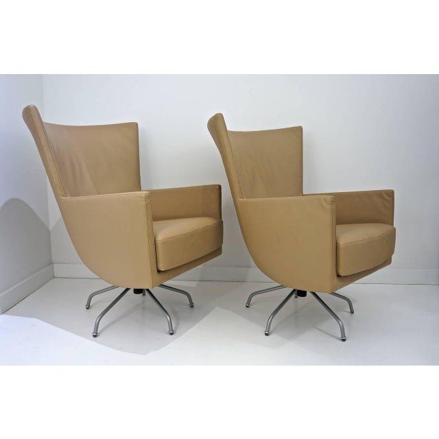 Pair of Modern, Italian, Swivel Lounge Chairs, Upholstered in Tan Color Leather - Image 4 of 9
