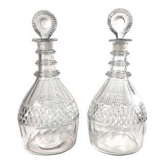 Late 18th Century Anglo-Irish Georgian Period Cut Crystal Decanters - a Pair For Sale
