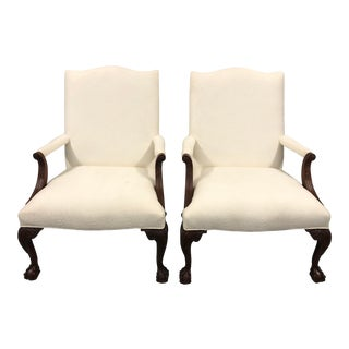 Ball & Claw Mahogany Library Chairs by Councill - a Pair For Sale