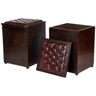 Late 19th Century England Wood and Tufted Leather Topped Stools - a Pair For Sale