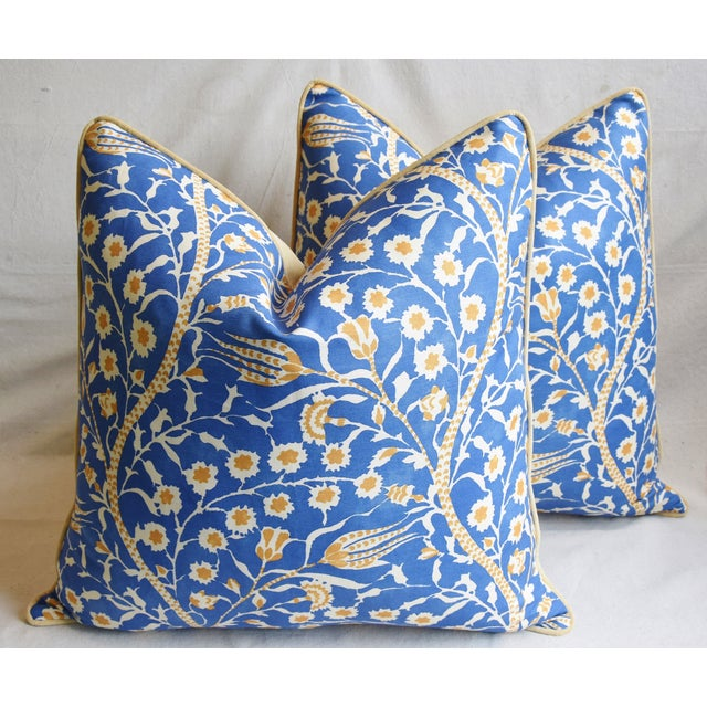 """Clarence House Floral Fabric Feather/Down Pillows 24"""" Square - Pair For Sale - Image 12 of 13"""