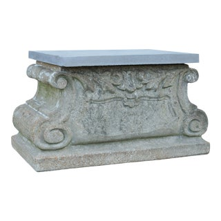 Vintage Cast Stone Garden Pedestal or Bench For Sale