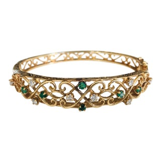 Antique Emerald Diamond and 14k Gold Bracelet For Sale