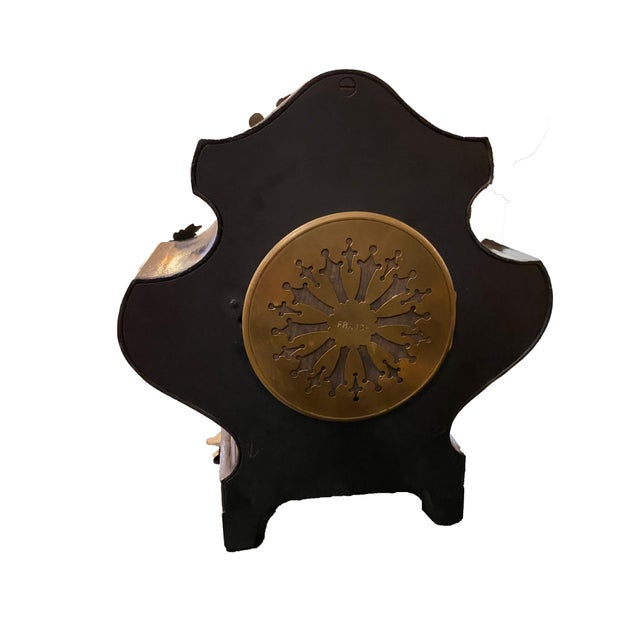 19th Century French Black Gilded Clock For Sale In Dallas - Image 6 of 9