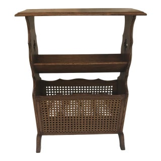 Vintage Cane Side Mid Century Book and Magazine Rack For Sale