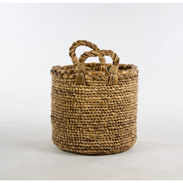 Contemporary Woven Seagrass Handled Basket For Sale - Image 3 of 8