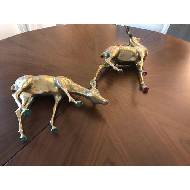 Vintage Brass Deer Figurines - A Pair - Image 6 of 6