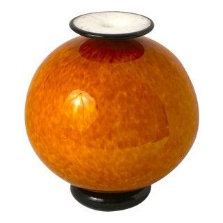 Art Deco Czechoslovakia Art Glass Fire Orange and Black Globe Vase For Sale