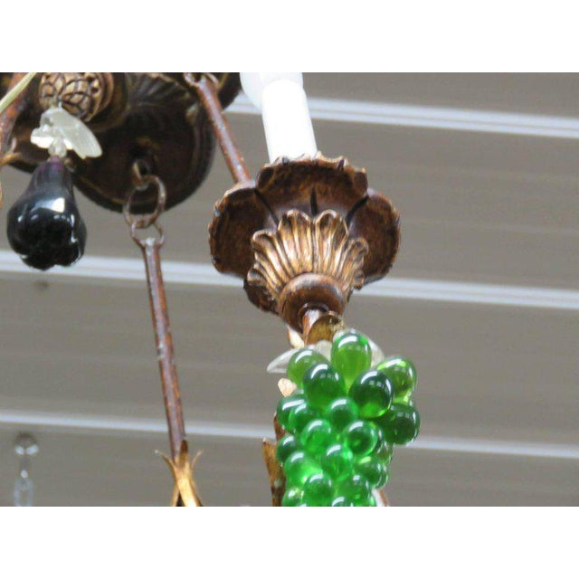 Italian Tole and Crystal Chandelier For Sale In Philadelphia - Image 6 of 8