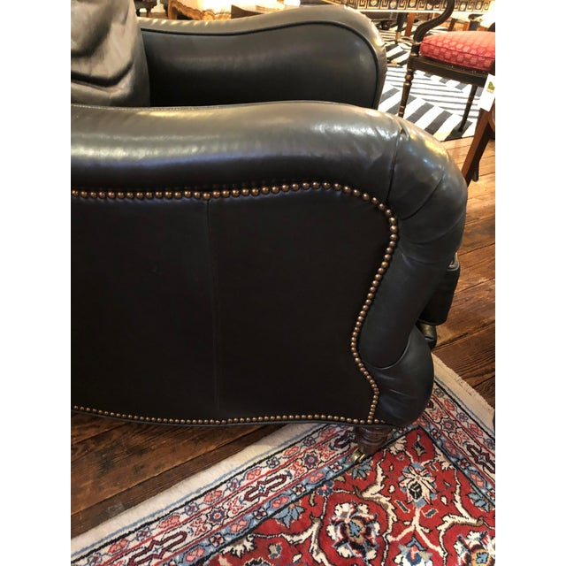 Wood Dark Charcoal Leather Club Chair & Ottoman For Sale - Image 7 of 9