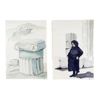 Greek Ruins Watercolor Study Paintings - a Pair For Sale