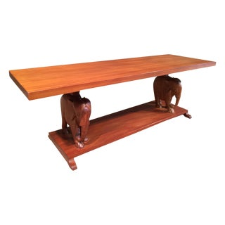Carved Walnut Elephant Table Bench