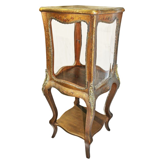 Antique French Gilt Vitrine Display Case For Sale