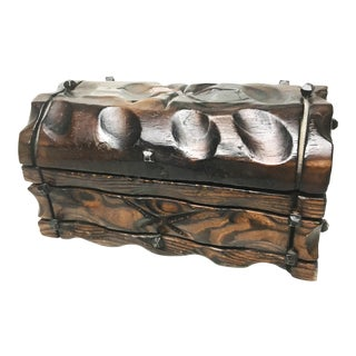 Vintage Handmade Solid Wood Treasure Chest, Made in Spain